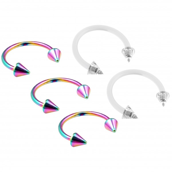 3pc 16g Rainbow Stainless Steel Circular Barbell Horseshoe Earrings Tragus - 2pc Clear Retainer