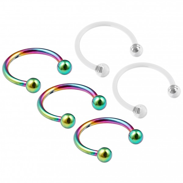 3pc 16g Rainbow Stainless Steel Circular Barbell Horseshoe Earrings Tragus - 2pc Clear Retainers