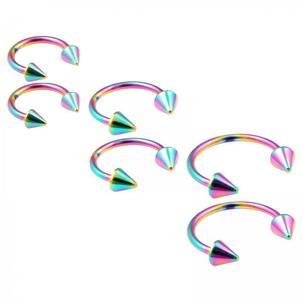 6pc 16g Rainbow Circular Barbell Horseshoe Earrings Daith Tragus Piercing Spike Lot 8mm 10mm 12mm