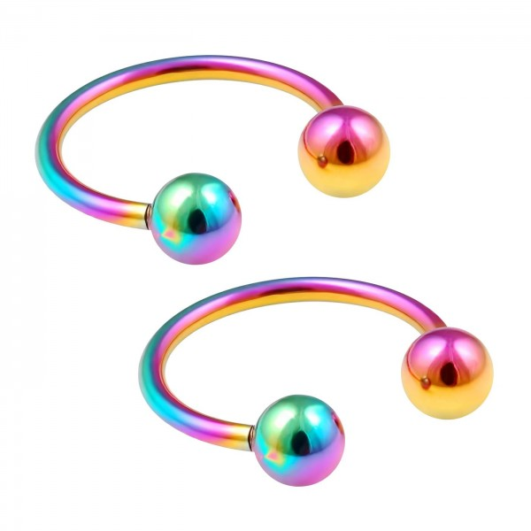 2pc 16g Rainbow Circular Barbell Horseshoe Earrings Anodized Stainless Steel Tragus Daith Helix 10mm