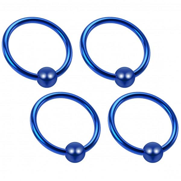 4pc 18g Captive Ring Surgical Steel Tragus Snake Bite Cartilage BCR Septum Nose Helix Blue Eyebrow