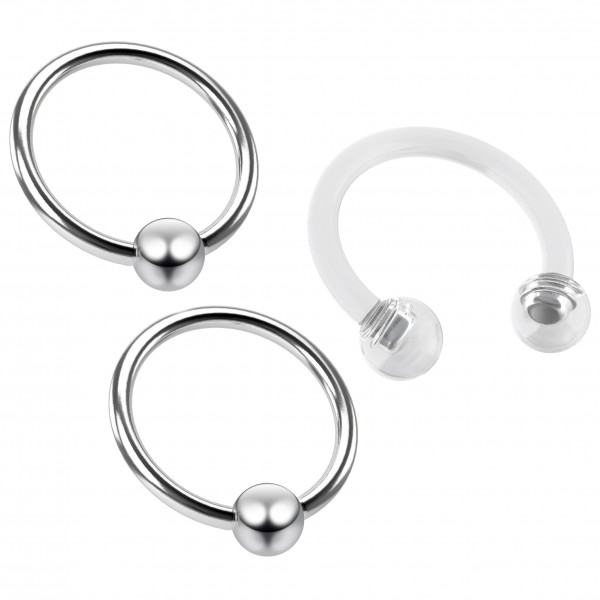 3pc 18g Captive Ring Tragus Snake Bite Cartilage BCR Rook Septum Nose Helix Conch Eyebrow & Retainer