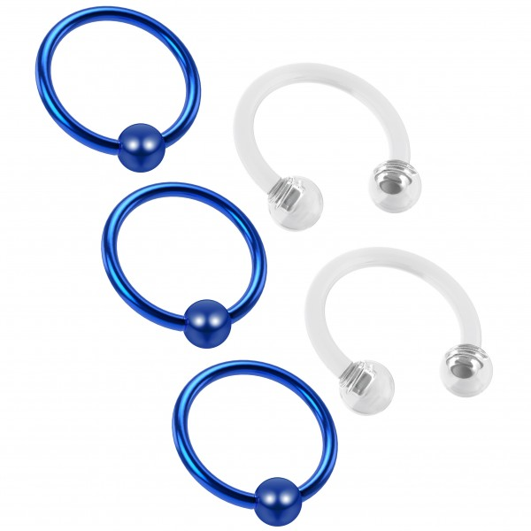 3pc 16g Captive Bead Ring Hoop Septum Cartilage Nose Lip Eyebrow Tragus Blue Rook 8mm - 2pc Retainer