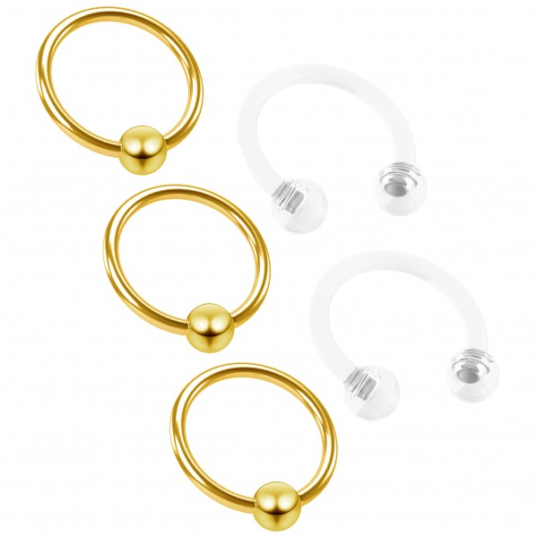 3pc 16g Captive Bead Ring Hoop Septum Cartilage Nose Lip Eyebrow Tragus Gold Rook 8mm - 2pc Retainer