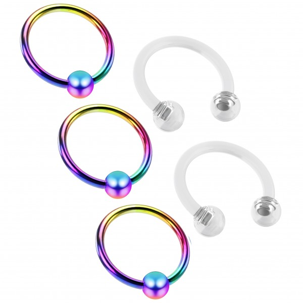 3pc 16g Rainbow Captive Bead Rings Hoop Septum Cartilage Nose Lip Eyebrow Tragus 8mm - 2pc Retainer