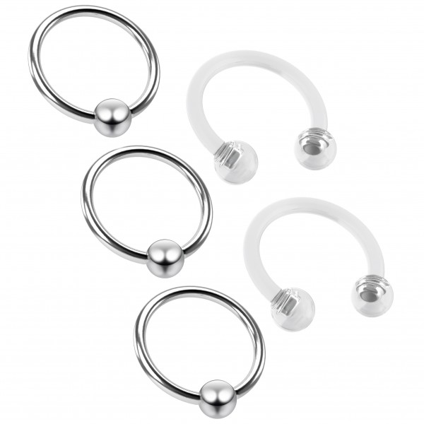 3pc 16g Captive Bead Ring Hoop Septum Cartilage Nose Lip Eyebrow Tragus Helix Rook 8mm - 2 Retainer