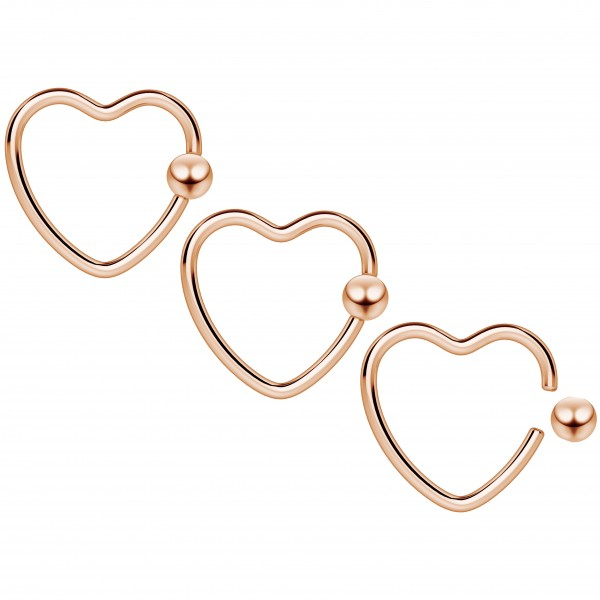 3pc 16g Heart Hoop Earring CBR Captive Bead Rings Cartilage Daith Rook Helix Auricle Rose Gold BCR