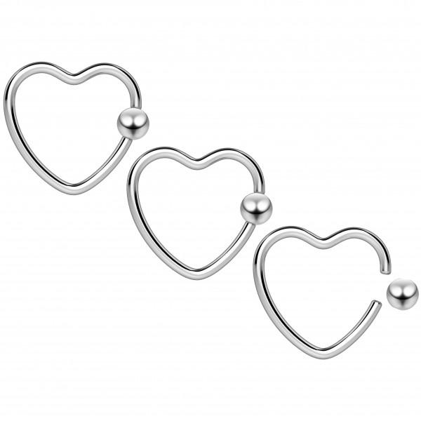 3pc 16g Heart Hoop Earring CBR Captive Bead Rings Cartilage Daith Rook Helix Auricle Balls BCR Lot