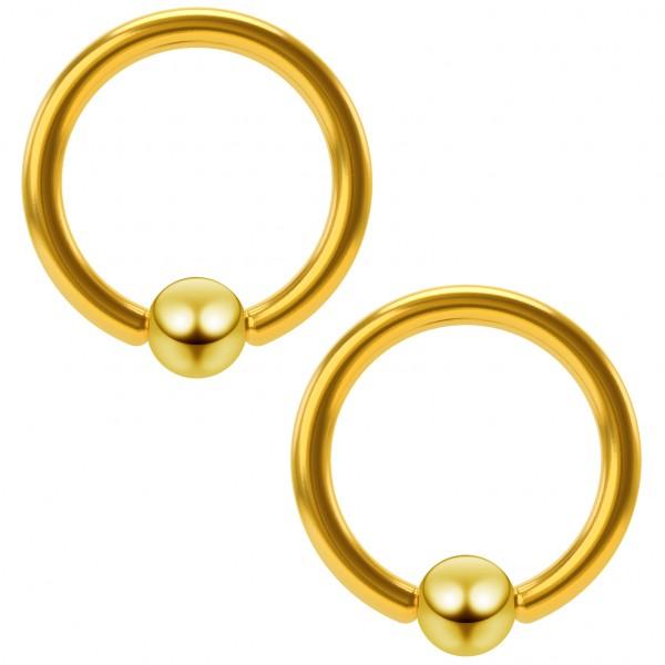 2pc 16g Gold Captive Bead Ring Hoop Septum Cartilage Nose Lip Eyebrow Tragus Helix Snake Bites 8mm