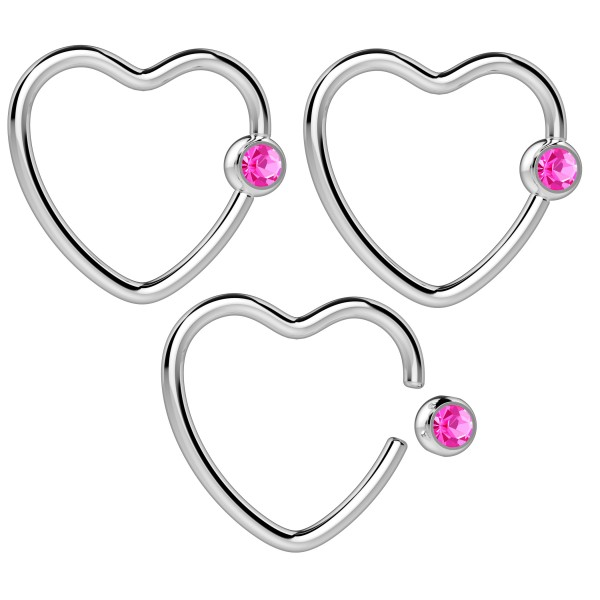 3pc 16g Heart Hoop Earring CBR Captive Bead Rings Cartilage Daith Rook Helix Auricle Crystal Ball RS