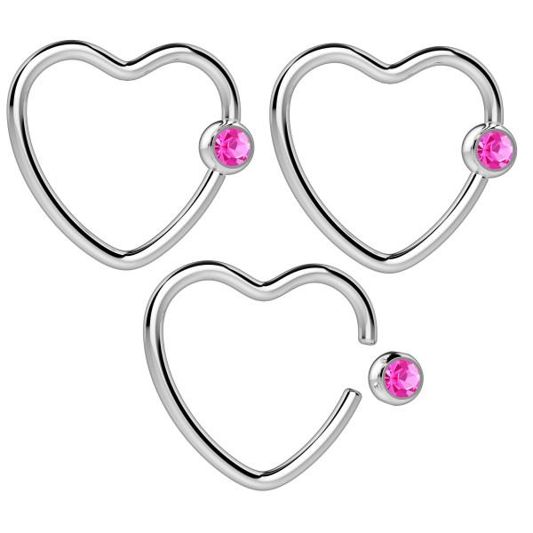 3pc 16g Heart Hoop Earring CBR Captive Bead Rings CZ Cartilage Daith Rook Helix Auricle Crystal Ball