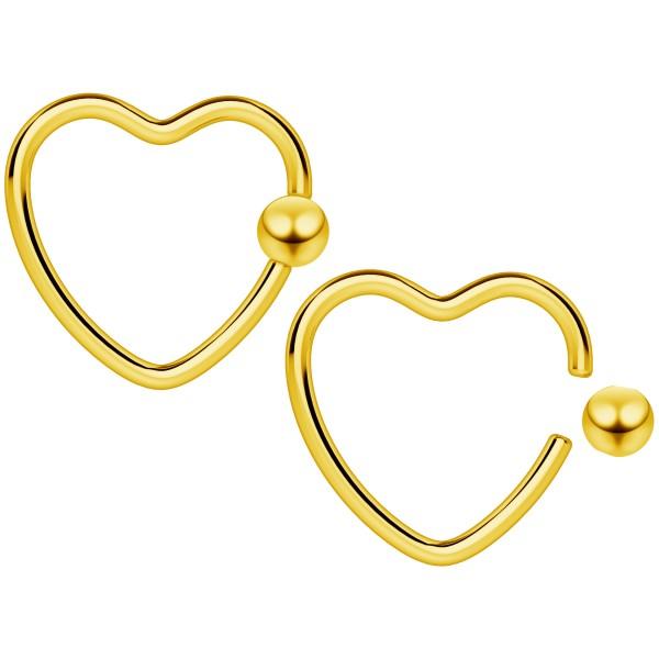 2pcs 16g Heart CBR Hoop Captive Bead Ring Cartilage Daith Rook Tragus Helix BCR Gold Conch Auricle