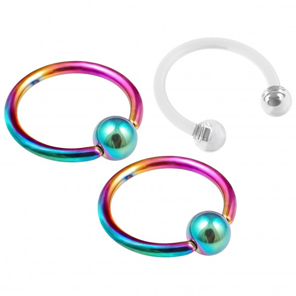 2pc 16g Rainbow Captive Bead Ring Hoop Septum Cartilage Nose Lip Eyebrow Tragus Helix - inc Retainer