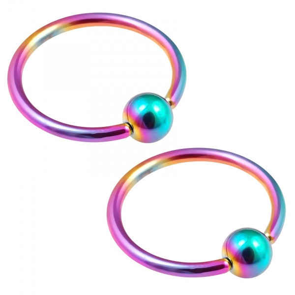 2pc 16g Rainbow Captive Bead Ring Hoop Septum Cartilage Nose Lip Eyebrow Tragus Helix Rook Bite 12mm