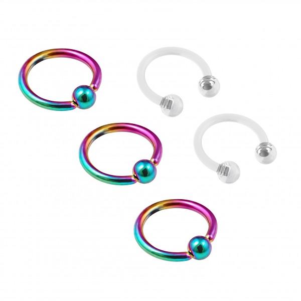 3pc 16g Rainbow Captive Bead Ring Hoop Septum Cartilage Nose Lip Eyebrow Helix 10mm - 2pc Retainer