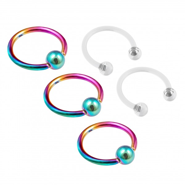 3pc 16g Rainbow Captive Bead Ring Hoop Septum Cartilage Nose Lip Eyebrow Tragus Helix - 2pc Retainer