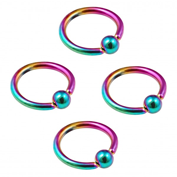 4pc 16g Rainbow Captive Bead Ring Hoop Septum Cartilage Nose Lip Eyebrow Tragus Helix Rook Bite 10mm