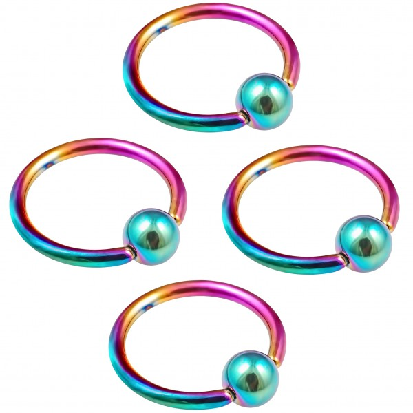 4pc 16g Rainbow Captive Bead Ring Hoop Septum Cartilage Nose Lip Eyebrow Tragus Helix Rook Bite 12mm