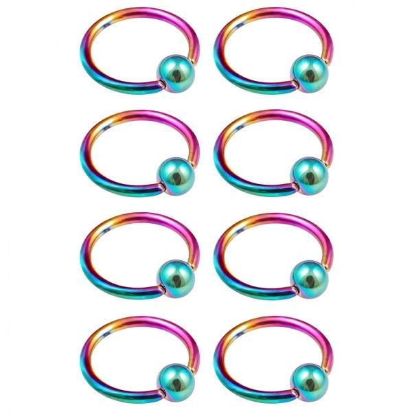 8pc 16g Rainbow Captive Bead Ring Hoop Septum Cartilage Nose Lip Eyebrow Tragus Helix Rook Bites BCR