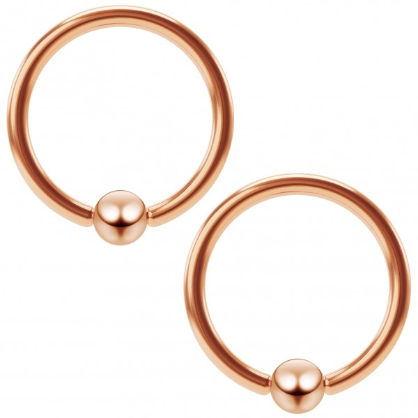 2pc 16g Rose Gold Captive Bead Ring Hoop Septum Cartilage Nose Lip Eyebrow Tragus Helix Rook Ear BCR