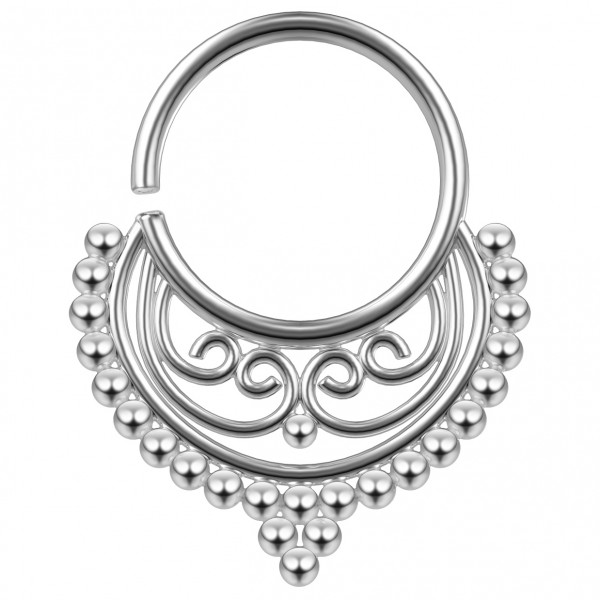 18g 8mm Septum Ring Brass Rhodium-Plated Nose Piercing Jewelry For Women Girls Hoop Cool Tribal