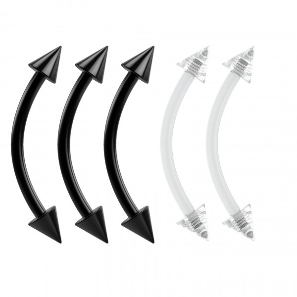 16g Curved Barbell 16 Gauge Flexible Bendable Black Dental Acrylic Spike x 3 and Clear Retainers x 2