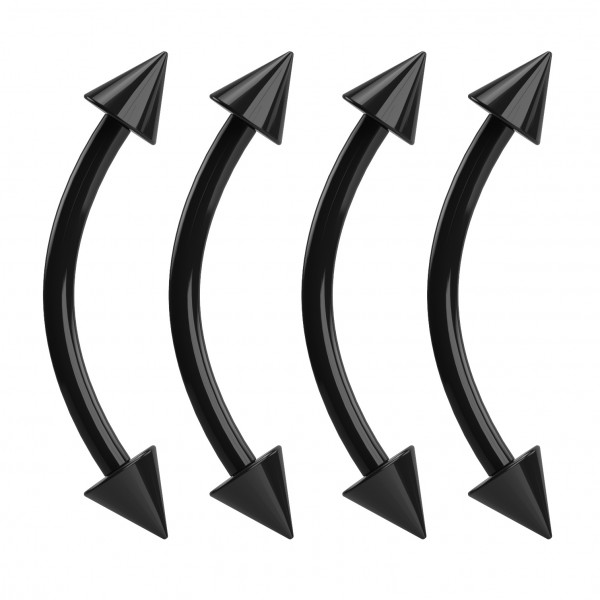 4pc Black Acrylic Curved Barbell 16g Plastic Bridge Eyebrow Earl Piercing Vertical Labret Spike Rook