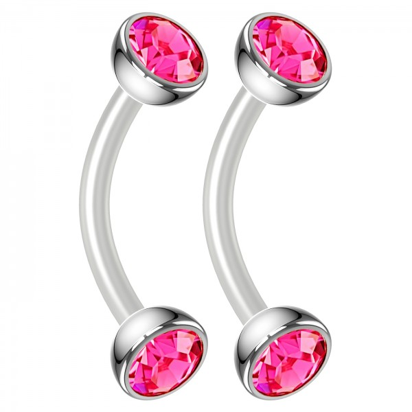 2pc 16g Bioflex Curved Barbell Vertical Labret Lip Ring Tragus Cartilage Eyebrow Rose Crystal Gem