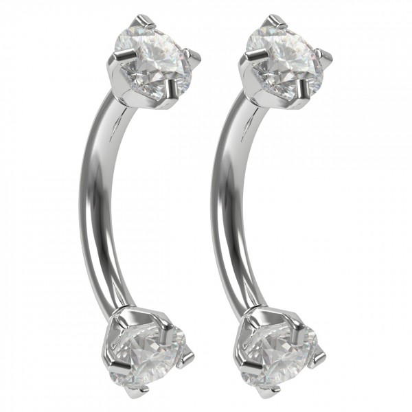 2pc 16g crystal CZ Curved Barbell Vertical Labret Cubic Zirconia Internally Threaded Jewelry 8mm