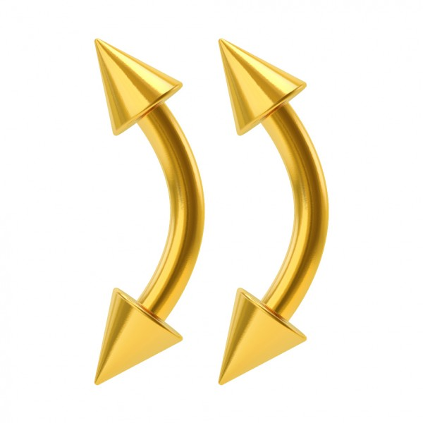 2pc 16g Vertical Labret Curved Barbell Earrings Eyebrow Gold Cartilage Daith Piercing Jewelry 6mm
