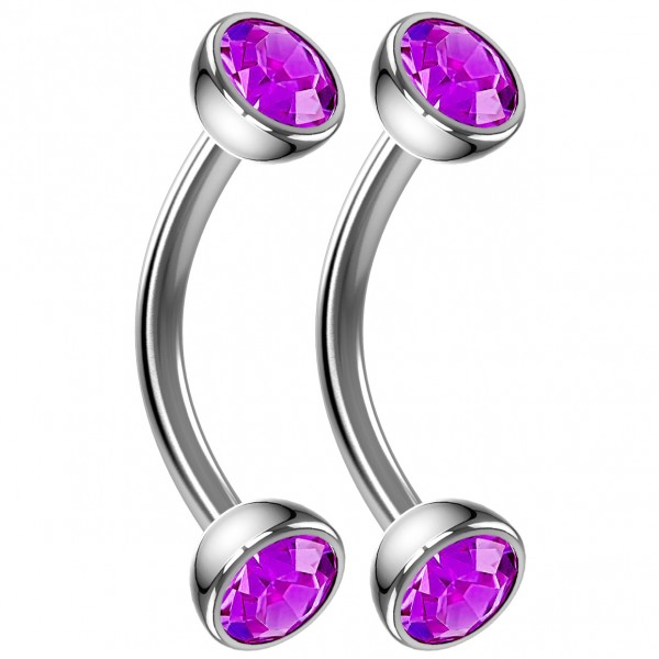 2pc 16g Curved Barbell Amethyst Cartilage Tragus Eyebrow Surgical Steel Helix Conch Earring Stud 8mm