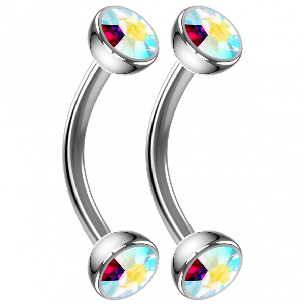 2pc 16g Curved Barbell AB Cartilage Tragus Eyebrow Surgical Steel Helix Conch Earring Rook Studs 8mm