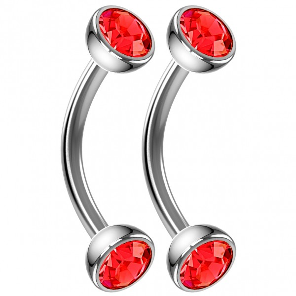 2pc 16g Curved Barbell Red Cartilage Tragus Eyebrow Surgical Steel Helix Conch Earring Rook Stud 8mm