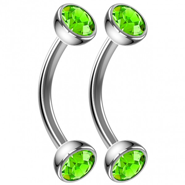 2pc 16g Curved Barbell Peridot CZ Cartilage Tragus Eyebrow Surgical Steel Helix Conch Earrings 8mm