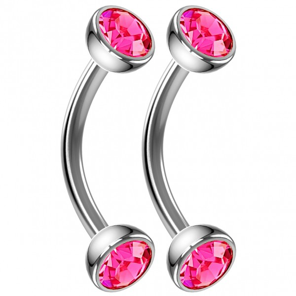 2pc 16g Curved Barbell Rose CZ Cartilage Tragus Eyebrow Surgical Steel Helix Conch Earring Rook 8mm
