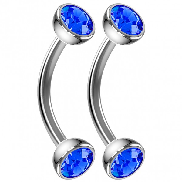 2pc 16g Curved Barbell Sapphire CZ Cartilage Tragus Eyebrow Surgical Steel Helix Conch Earring 8mm