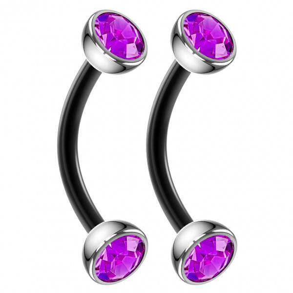 2pc 16g Black Curved Barbell CZ Amethyst Cartilage Tragus Eyebrow Surgical Steel Helix Earring Rook Studs 8mm