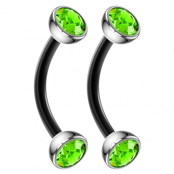 2pc 16g Black Curved Barbell CZ Peridot Cartilage Tragus Eyebrow Surgical Steel Helix Earring Rook Studs 8mm