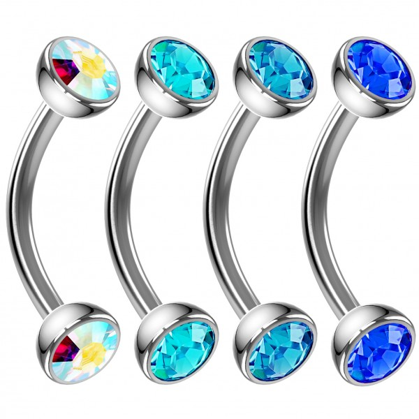4pc 16g Curved Barbell Cartilage CZ Tragus Eyebrow Surgical Steel Blue Aqua Earring Rook Studs 8mm