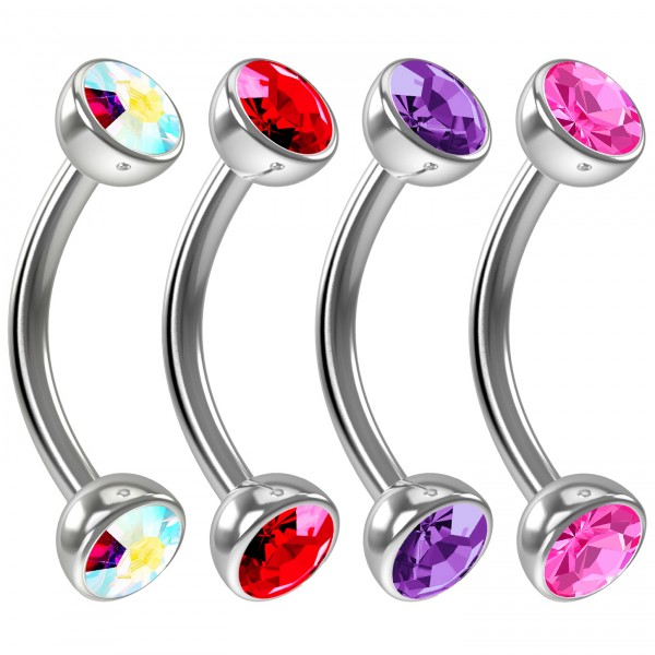 4pc 16g Curved Barbell Cartilage CZ Tragus Eyebrow Surgical Steel Red Crystal Earring Rook Studs 8mm