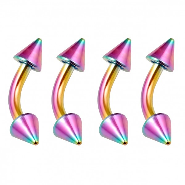 4pc Curved Barbell 16g Rainbow Vertical Labret Lip Industrial Earrings Nipplerings Eyebrow Spike 6mm