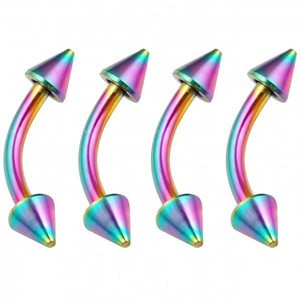 4pc Curved Barbell 16g Rainbow Vertical Labret Lip Industrial Earrings Spike Eyebrow Nipplerings 8mm