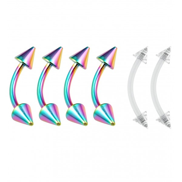 4pc Curved Barbell 16g Rainbow Vertical Labret Lip Industrial Earring 10mm 3/8 - 2pc Clear Retainer
