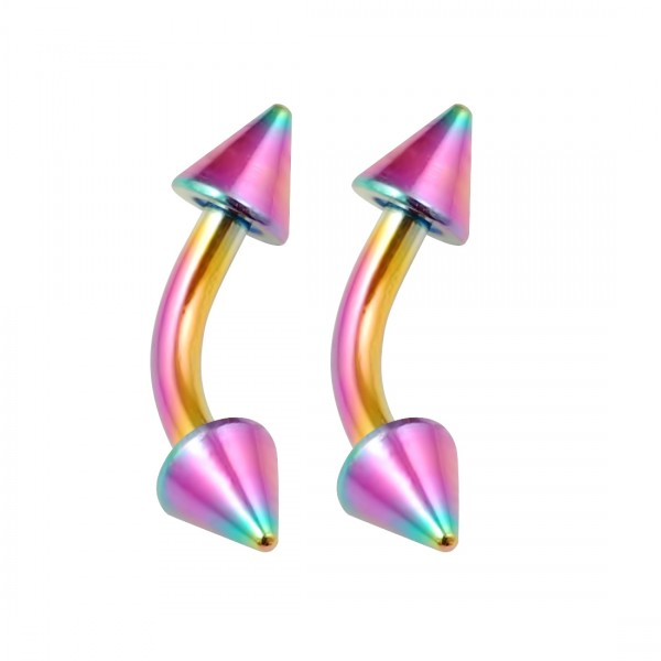 2pc Curved Barbell 16g Rainbow Vertical Labret Lip Industrial Earrings Daith Tragus Women Spike 6mm