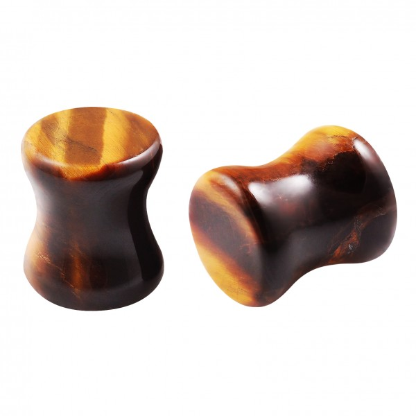 2pc 0g Plugs Tiger Eye Ear Gauges Natural Stone Double Flared Earring For Women Men Piercing Jewelry