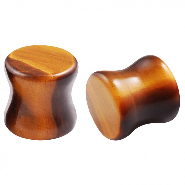 2pc 00g Gauges Tiger Eye Natural Stone Ear Plugs Double Flared Earrings Women Men Piercing Jewelry