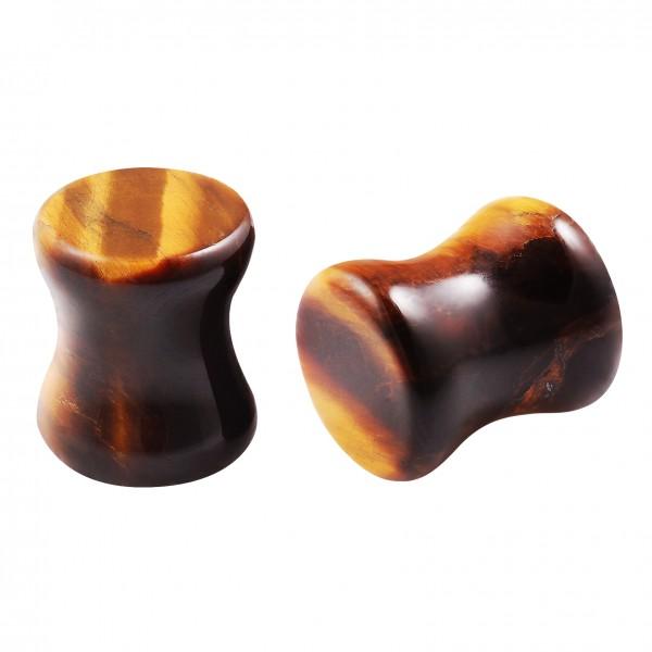 2pc Tiger Eye Gauges Natural Stone Ear Plugs Double Flared Earrings For Women Men Piercing Jewelry