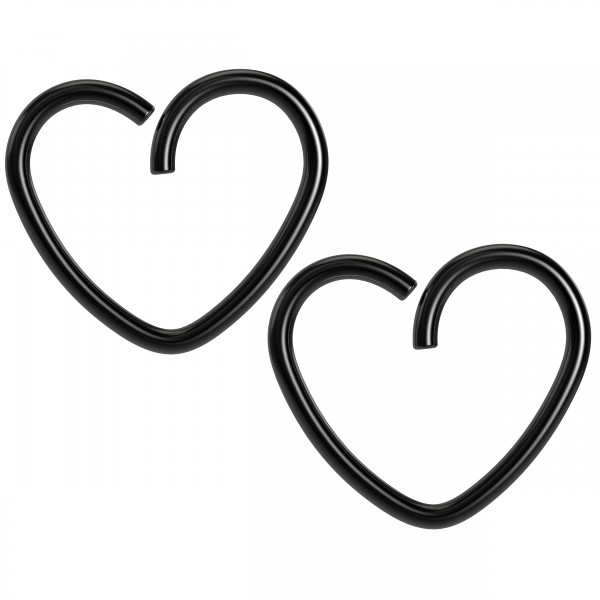 2pc 18g 3/8 Seamless Black Anodzied Steel Heart Hoop Earrings Cartilage Tragus Helix Conch Auricle