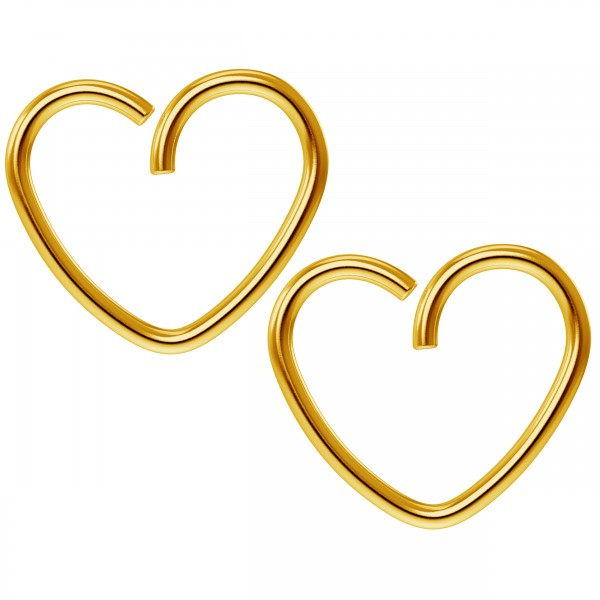 2pc 18g 3/8 Seamless Gold Anodized Heart Hoop Earring Ring Cartilage Rook Tragus Helix Conch Auricle