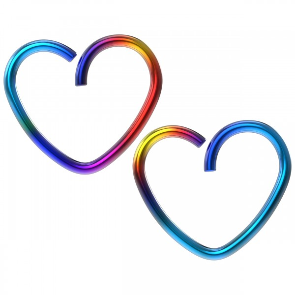 2pc 18g 3/8 Seamless Rainbow Stainless Steel Heart Hoop Earring Cartilage Tragus Helix Conch Auricle